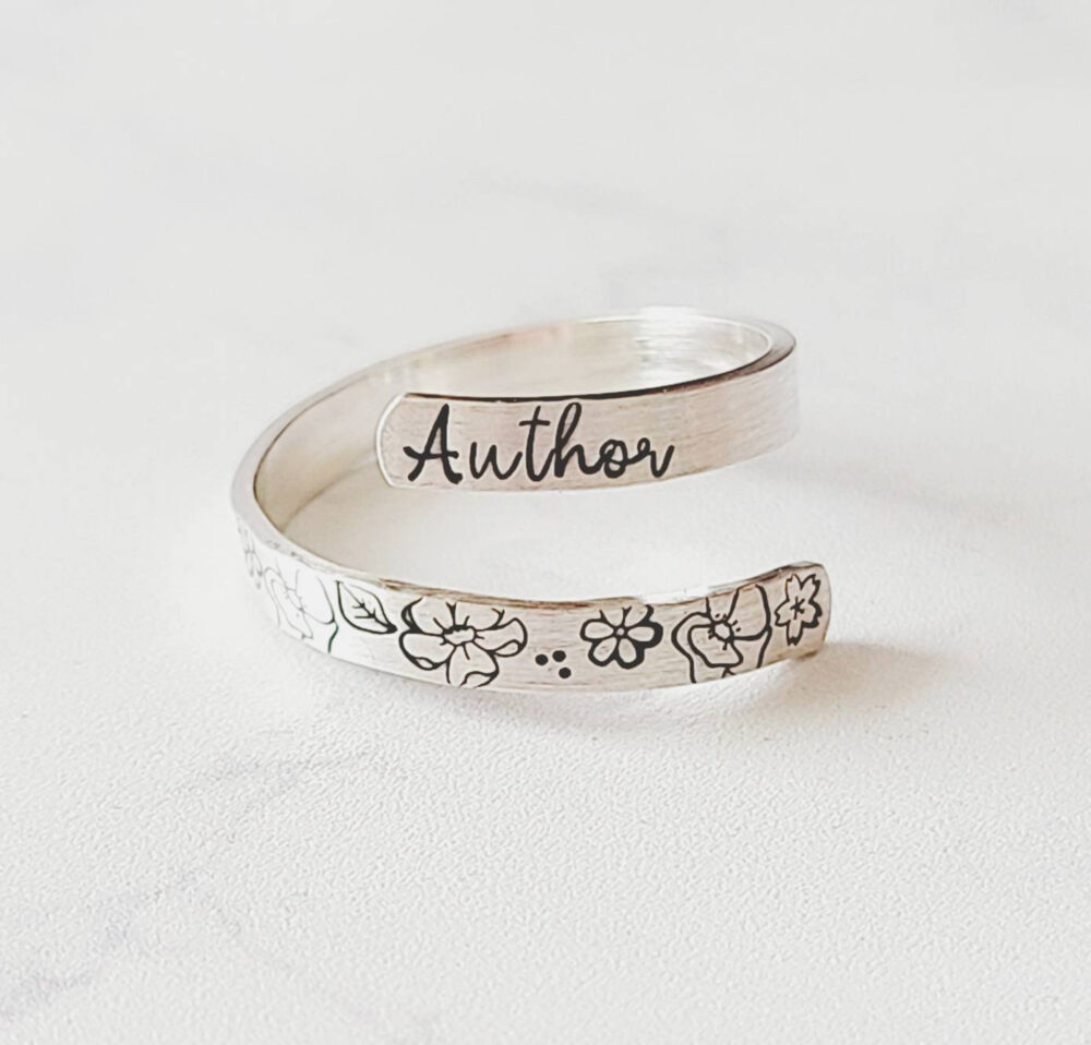 Personalized Word Of The Year Wrap Ring, Silver Minimalist Floral Custom Flower Sterling Christian Ring