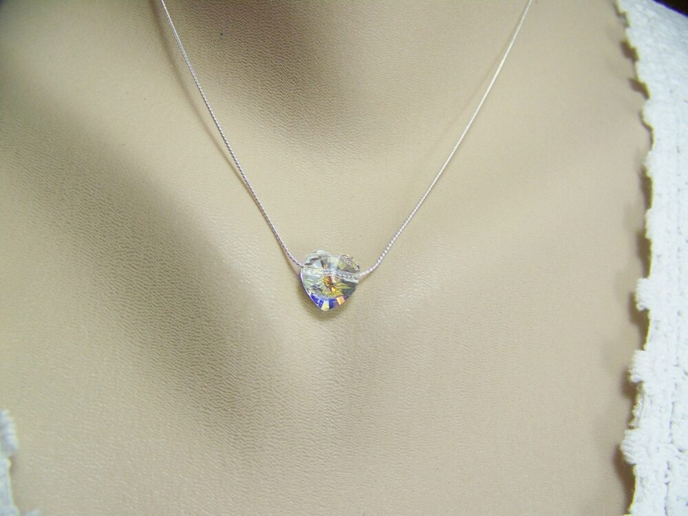Heart Necklace, Ab Crystal Sweetheart Swarovski Heart, Wedding Solitaire Floating Necklace