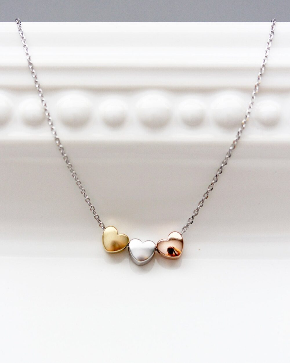 Three Hearts Necklace, Tri Tone Charm Silver Gold Rose Necklace Bridal Bridesmaid Gift Wedding Heart Jewelry Love Dainty Chm