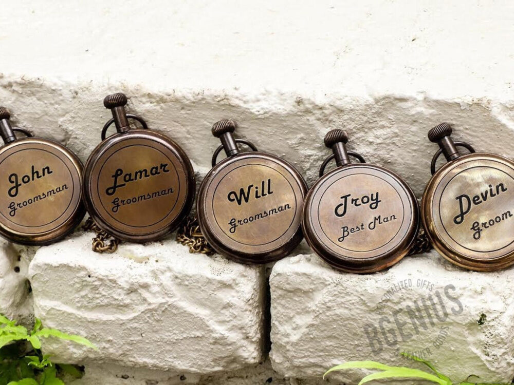 Personalized Pocket Watch With Leather Pouch & Vest Chain, Perfect Gift For Any Occasion, Wedding, Groomsmen, Anniversary, Fathers Day