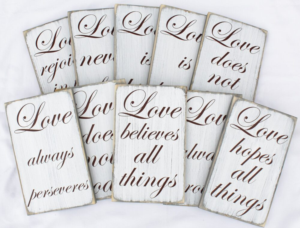 Set Of 10 Wedding Aisle Signs, Love Is Patient Wood Sign, 1 Corinthians 134, Wedding Table Decor, Weathered Rustic, Isle Sign