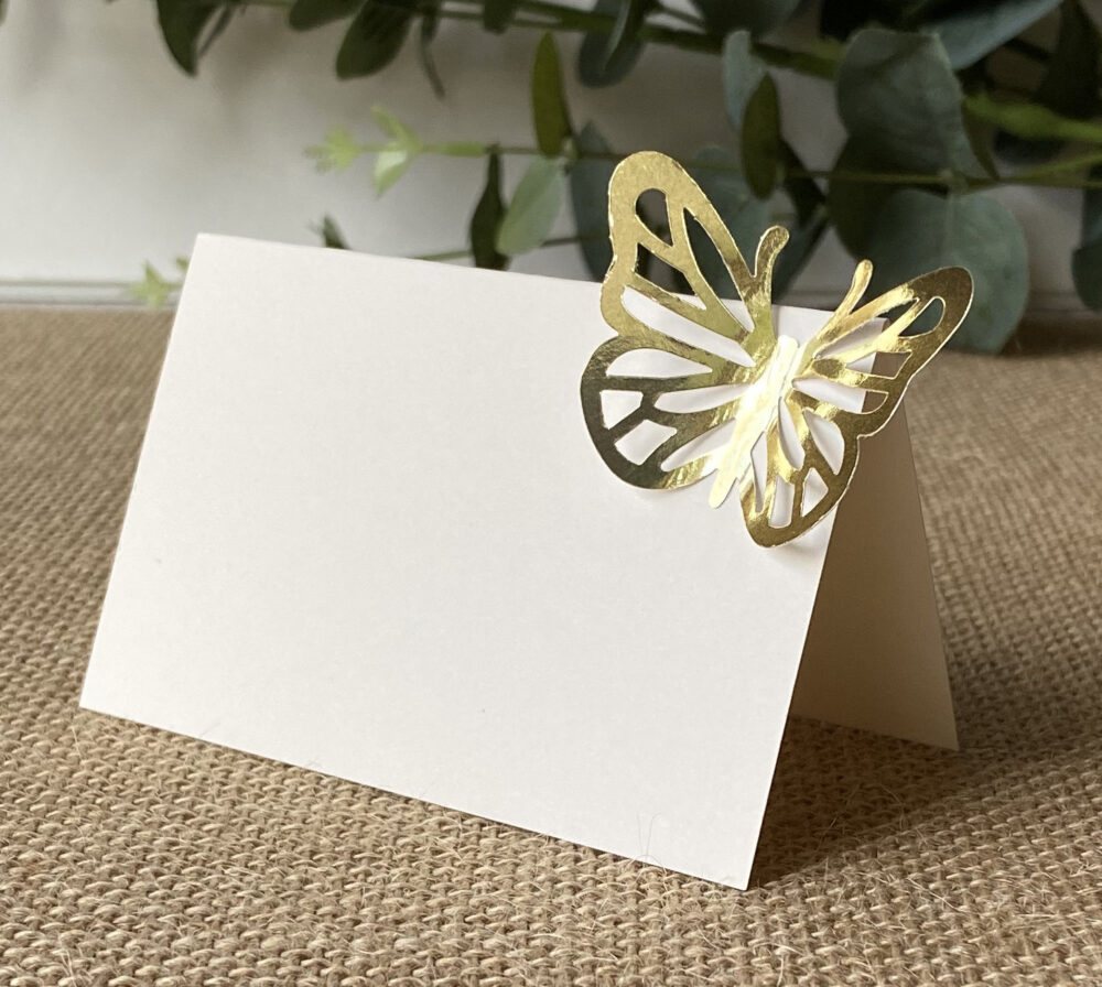 Blank Gold Foil Butterfly Place Cards/Wedding Placecards Escort Seating Name 3D