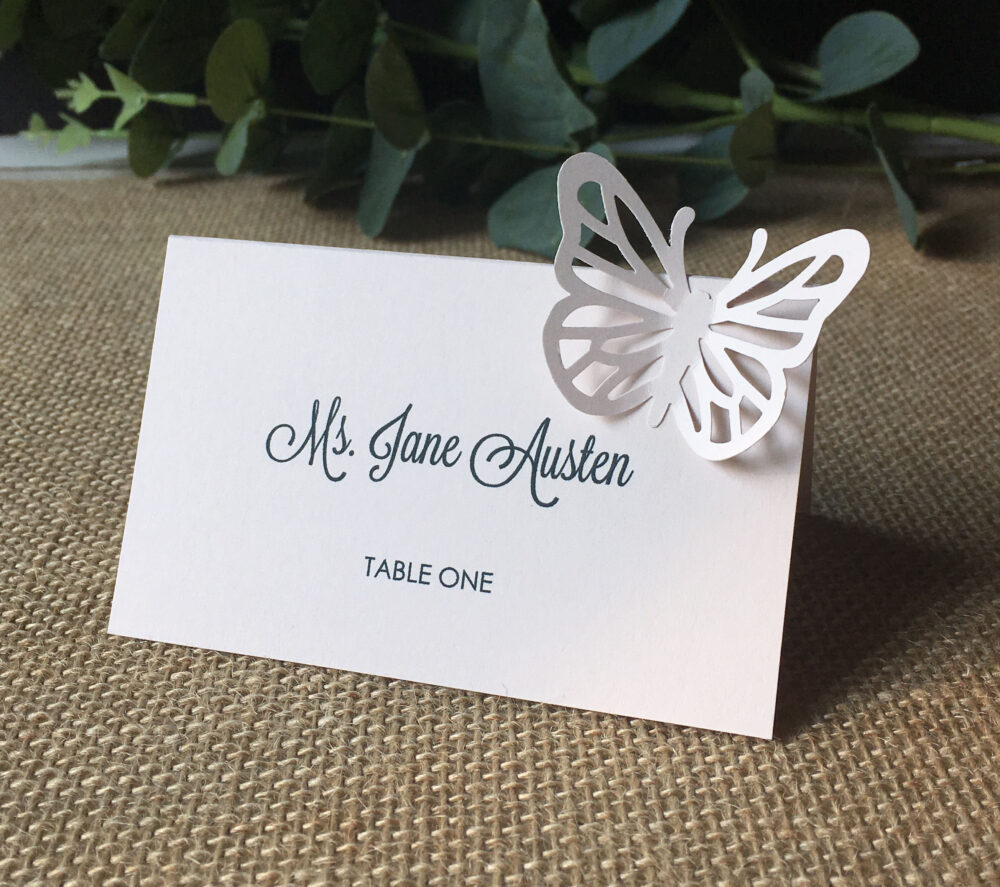 Printed Butterfly Place Cards - Tent Style, 3D, Escort Cards, Modern Calligraphy/ Shower/ Dinner, Reception/ Free Standing, Custom Printed