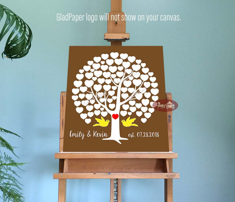 Wedding Guest Book Alternative, Tree Book, Rustic Guestbook Personalized Canvas
