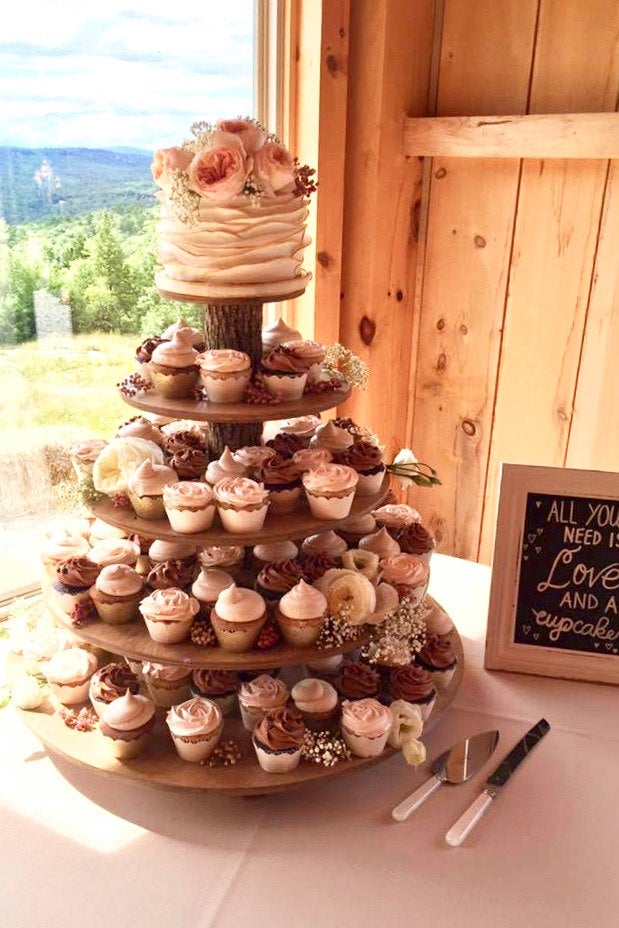 Cupcake Stand 5 Tier Rustic Or Modern | Tower/Holder 120 Cupcakes 250 Donuts Wedding Birthday Anniversary Shower Party Pastries - Wooden