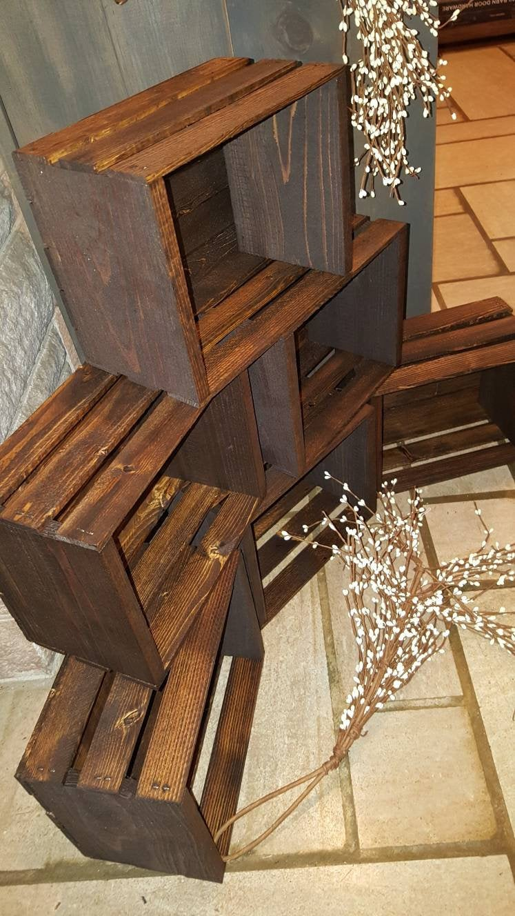 6 Rustic Cupcake Stand 10x8 , Wedding Crates Rustic Wood Cake Stand Decorations