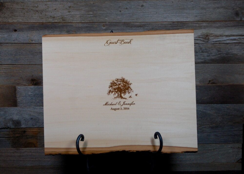 Rustic Engraved Guest Book Tree Slice/Plank, Wedding Wood Book, Personalized Custom Plaque