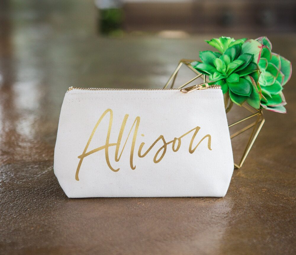 Bridesmaid Gift Makeup Bags With Gold Name For Bridesmaids Canvas Pouch Personalized Names Wedding Bridal Party Bag | Item - cmg370