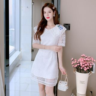 Short-Sleeve Embroidered Lace Dress