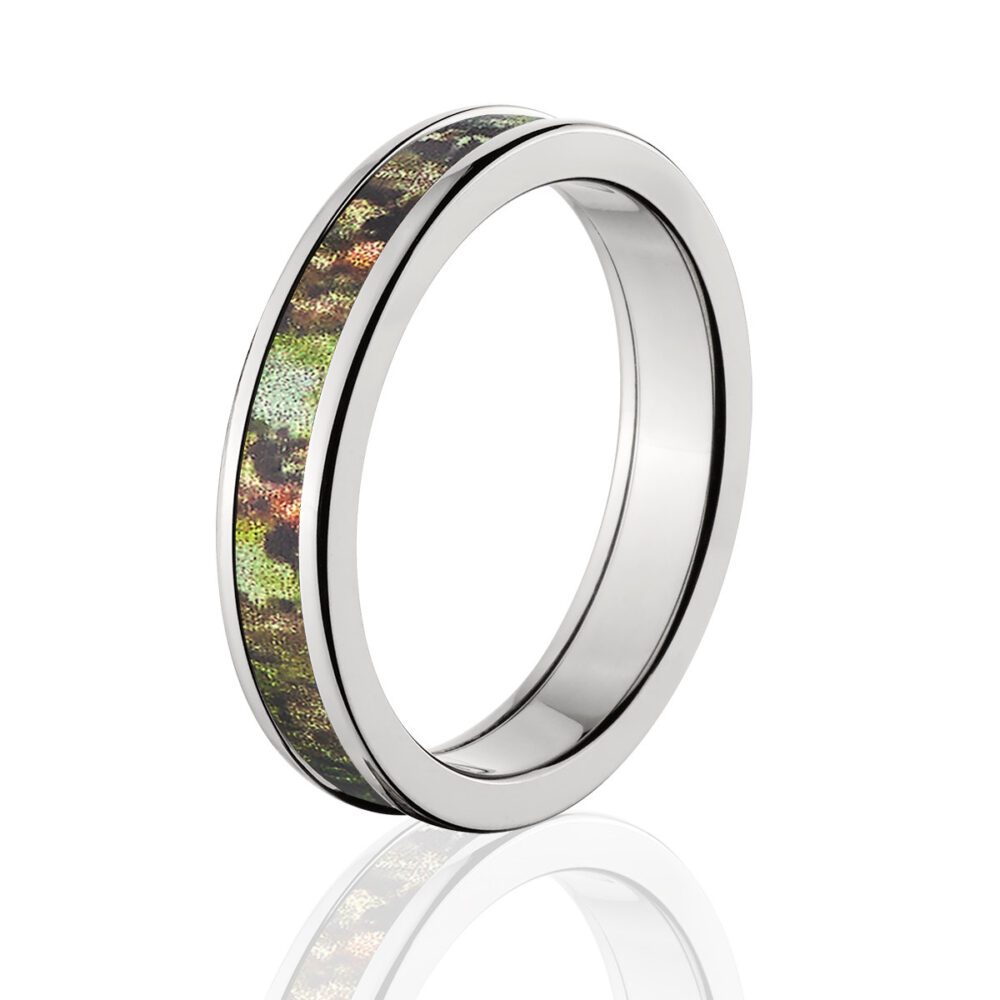Camouflage Wedding Band Custom Camo Ring Mossy Oak Obsession Pattern Jewelry 4Hr Obsession