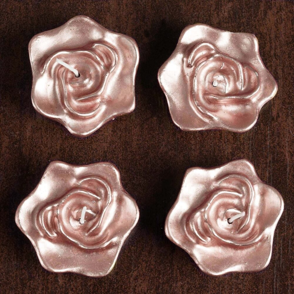 4 Pcs Rose Gold Flower Floating Candles, Candles For Table Decor, Home Candle Gift, Party Favors