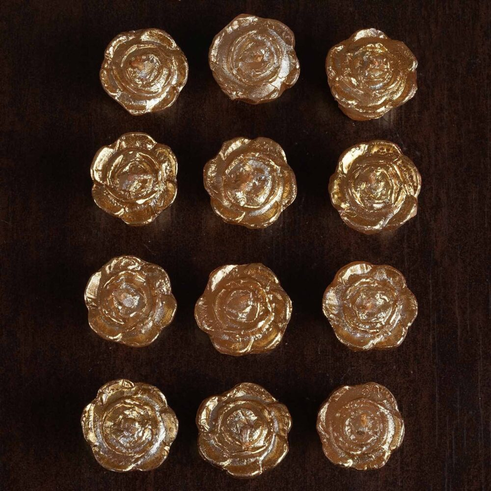 """12 Pcs 1"""" Gold Mini Rose Flower Floating Candles, Candles For Table Decor, Home Candle Gift, Party Favors"""