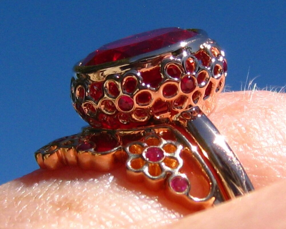 """Ruby Bridal Set Rose Gold Bezel """"Wildflowers"""" Engagement Ring & Floral Curved Wedding Band"""