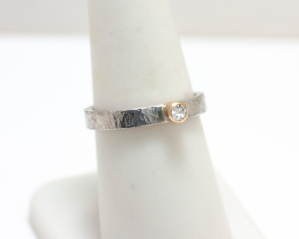 sterling Silver Hammered Band Ring With White Topaz Set in 14K Gold