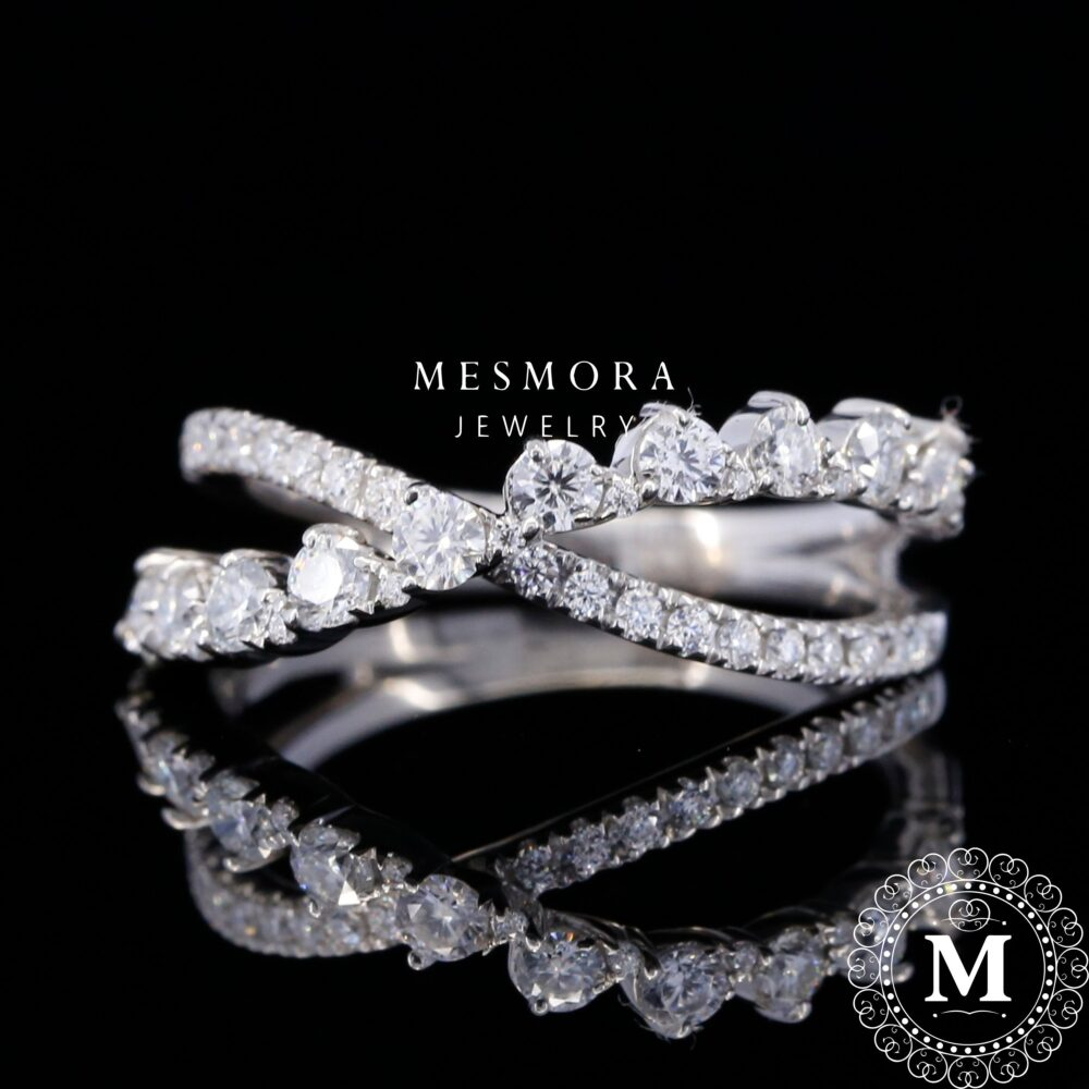 Swirl Wedding Engagement Band Solid Real 10K, 14Kt, 18Kt White Gold , Bridal , Anniversary Moissonite Diamond Band, Mothersday Sale