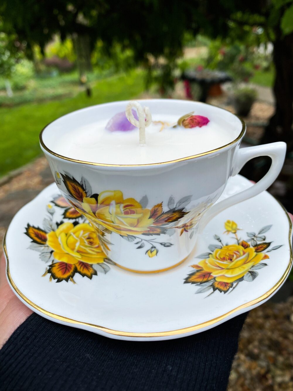 Vintage China Candle, Tea Cup Soy Wax, Cotton Wick, Tea Scented, Shabby Chic Cottage Repurposed, Cashmere, Fruit