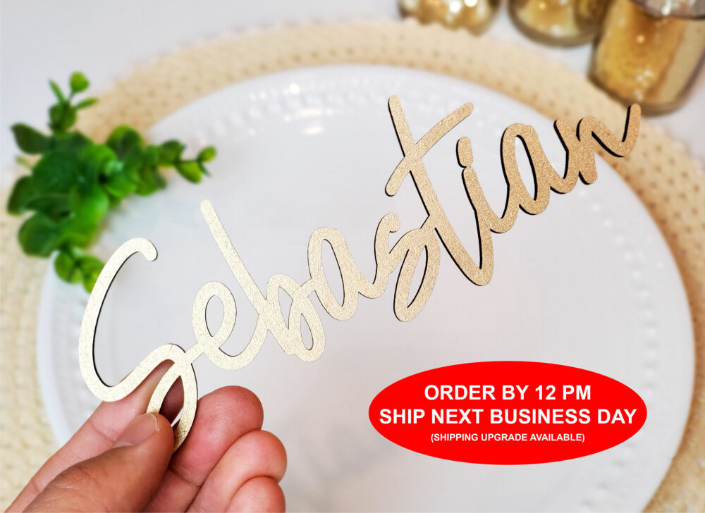 Wedding Name Place Card, Wood Acrylic Setting, Plates, Laser Cut Names | Order By 12 Pm Ship Next Business Day [119]