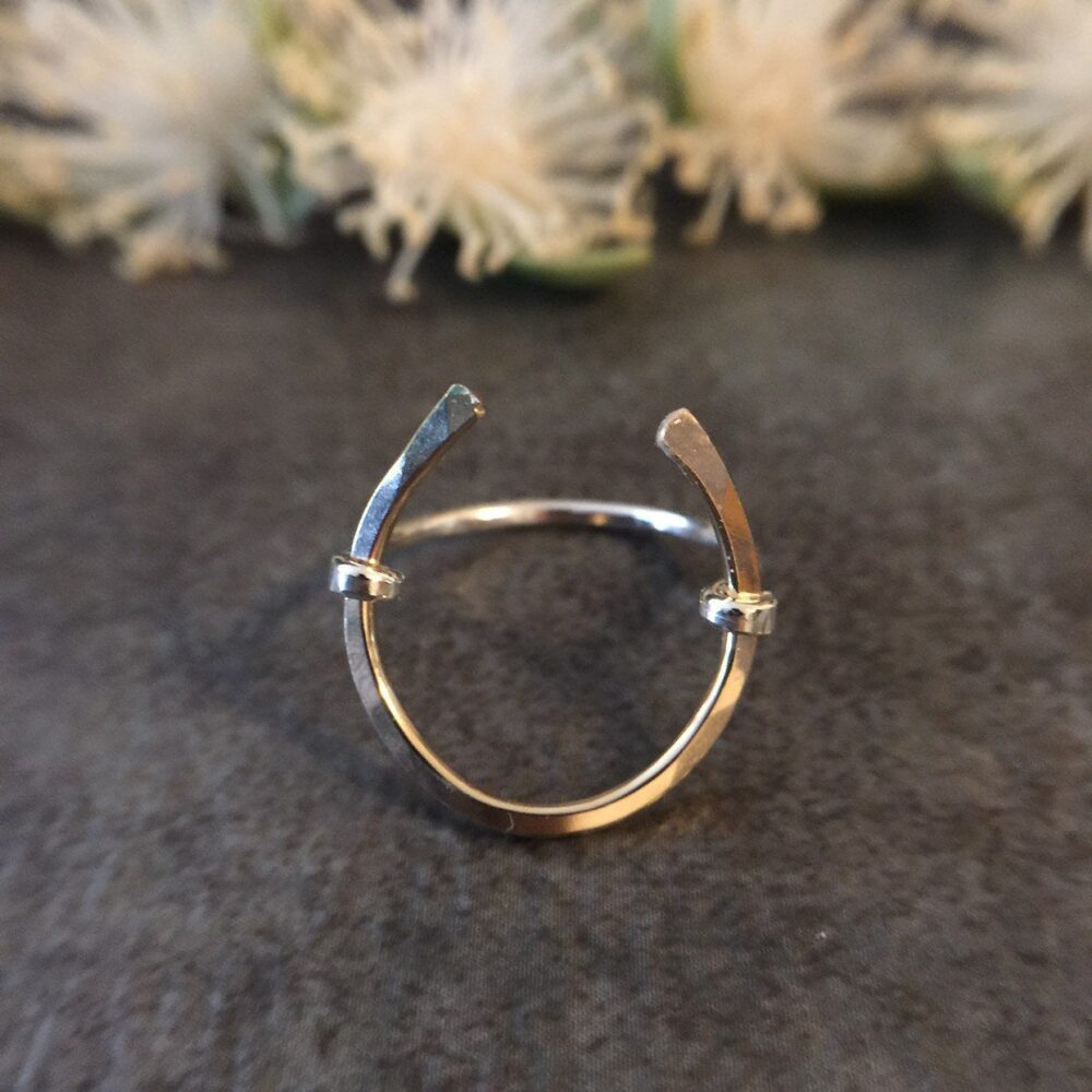 Horseshoe Ring, 14K Gold Filled Open Circle Sterling Silver Wire Wrap Statement Hammered Ring For Women
