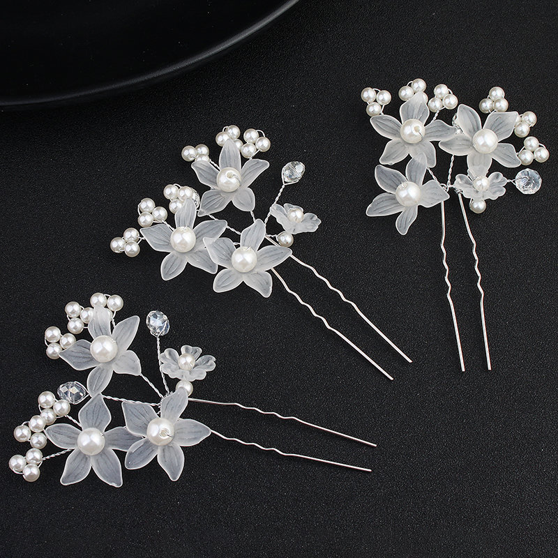 White Floral Hair Pin, Wedding Accessory, Pearl Pin For Bride, Bridesmaid & Flower Girls Jewelry Choice Of Colors