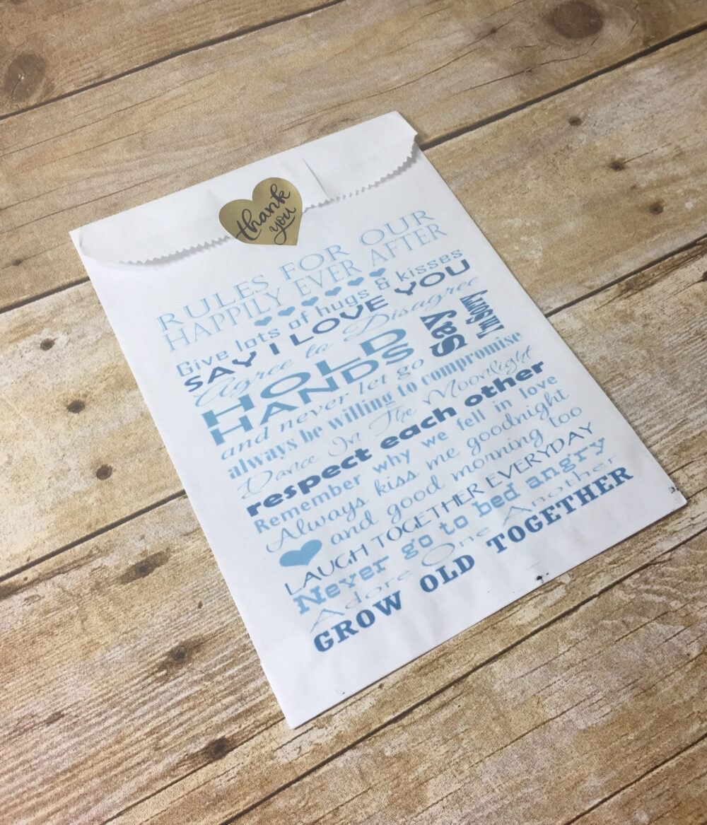Wedding Favor Bag | Bridal Shower Personalized Treat Cookie Candy White Rustic Favors