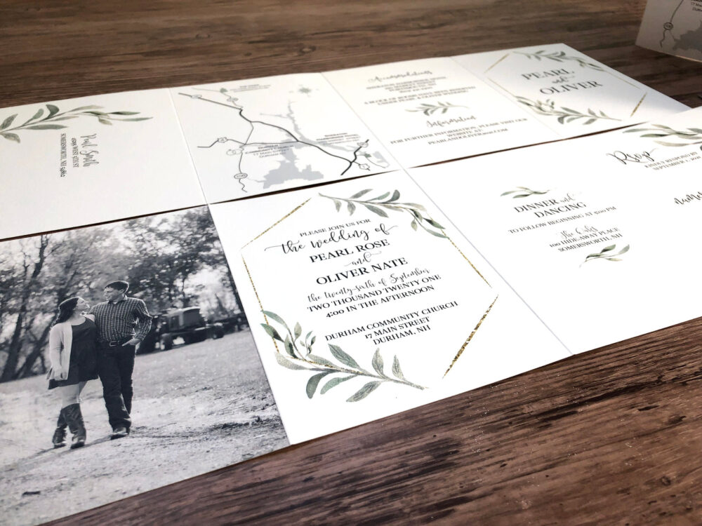 Greenery Wedding Invitation, Custom Designed Invitations, Include Details, Tear Off Rsvp Card, Map, & Photo All in One   232