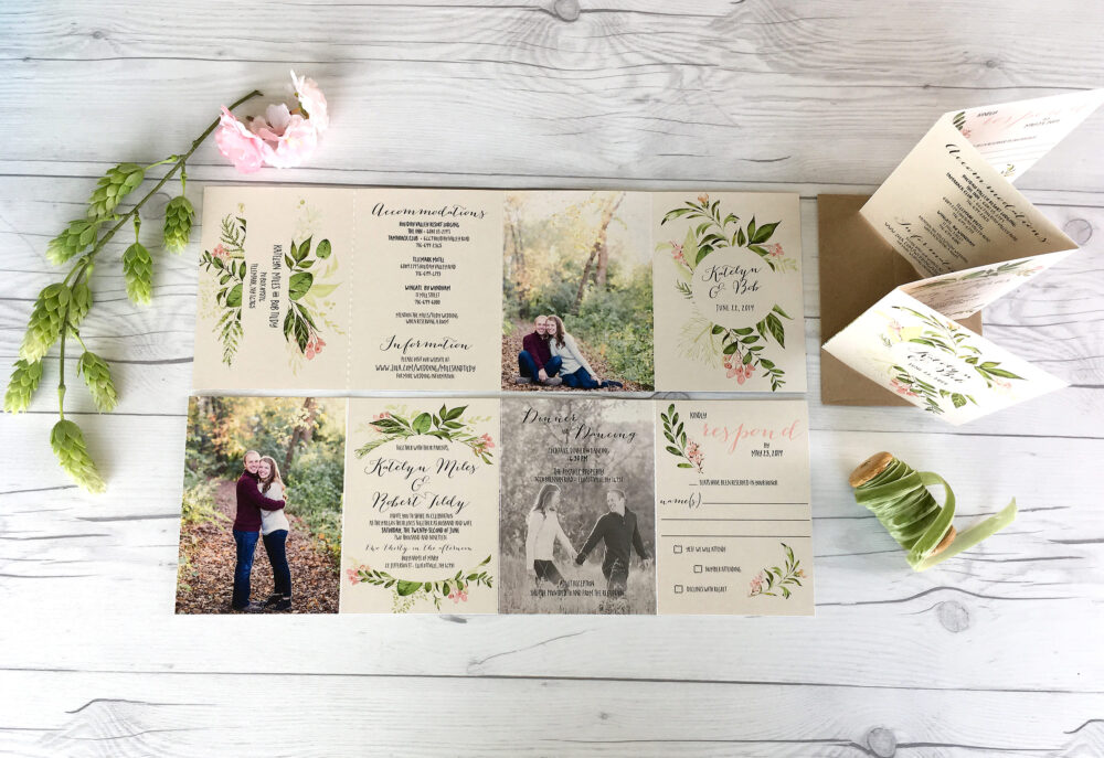 Photo Wedding Invitation Suite · Beautiful Greenery With Pictures All in One Set | 221
