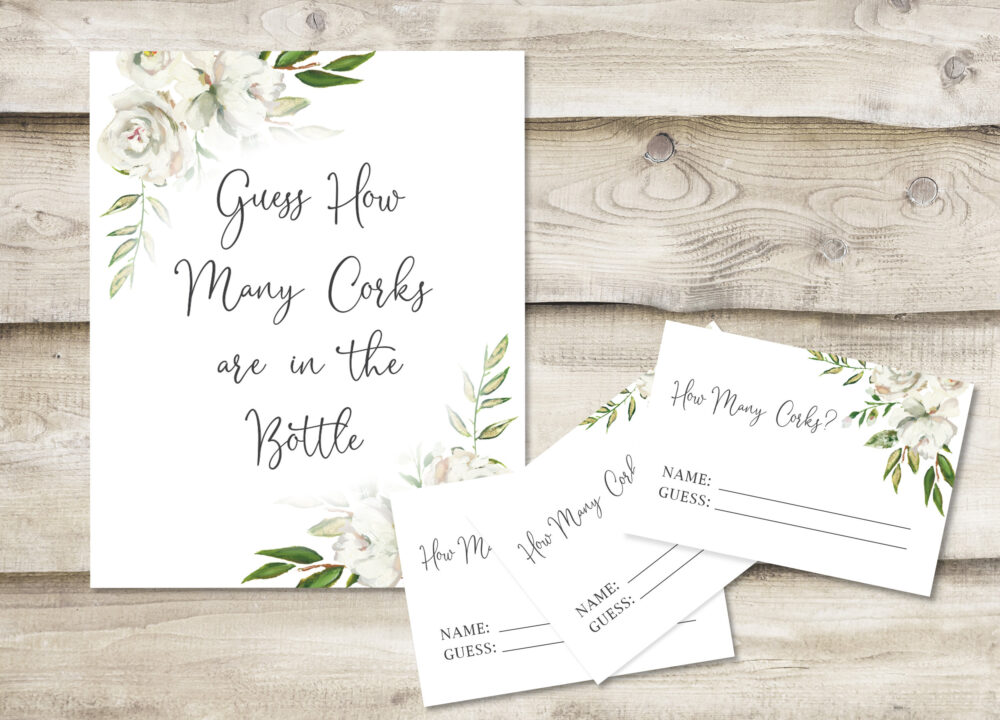 Printed Guess How Many Corks Are in The Bottle Sign With 3.5x5 Inch Cards, Bridal Shower Or Wedding Game, Greenery, Floral