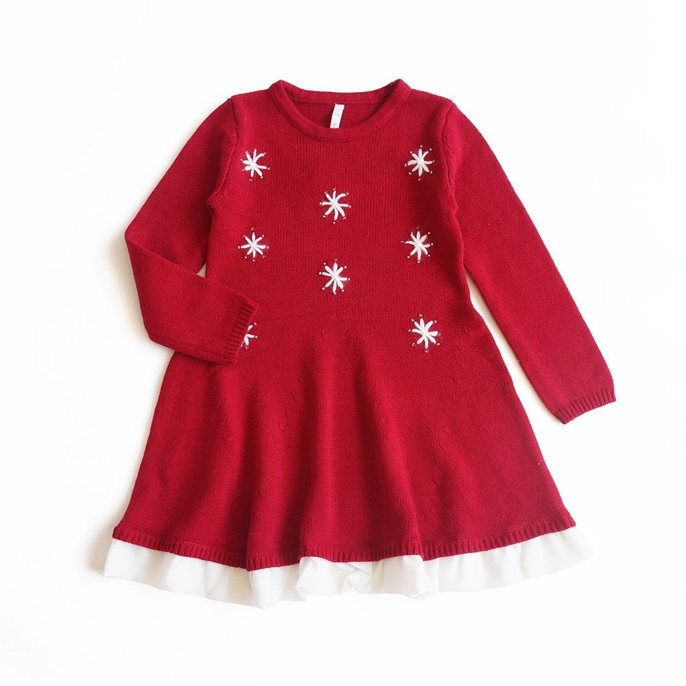Girl Christmas Dress, Red Holiday Party Dress Knit Photo 1st & Green