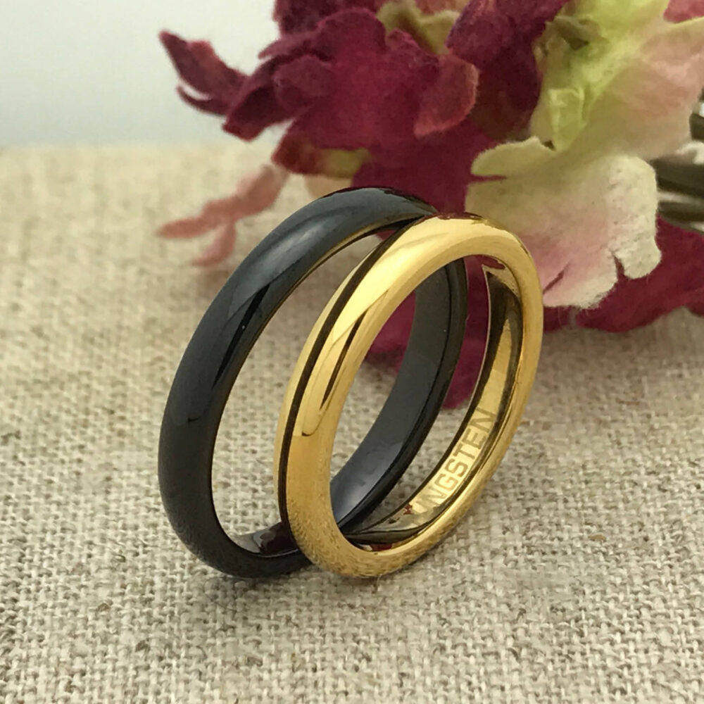 3mm His & Hers Tungsten Wedding Ring, Personalized Custom Engraved Unisex Promise Purity Skinny Ring