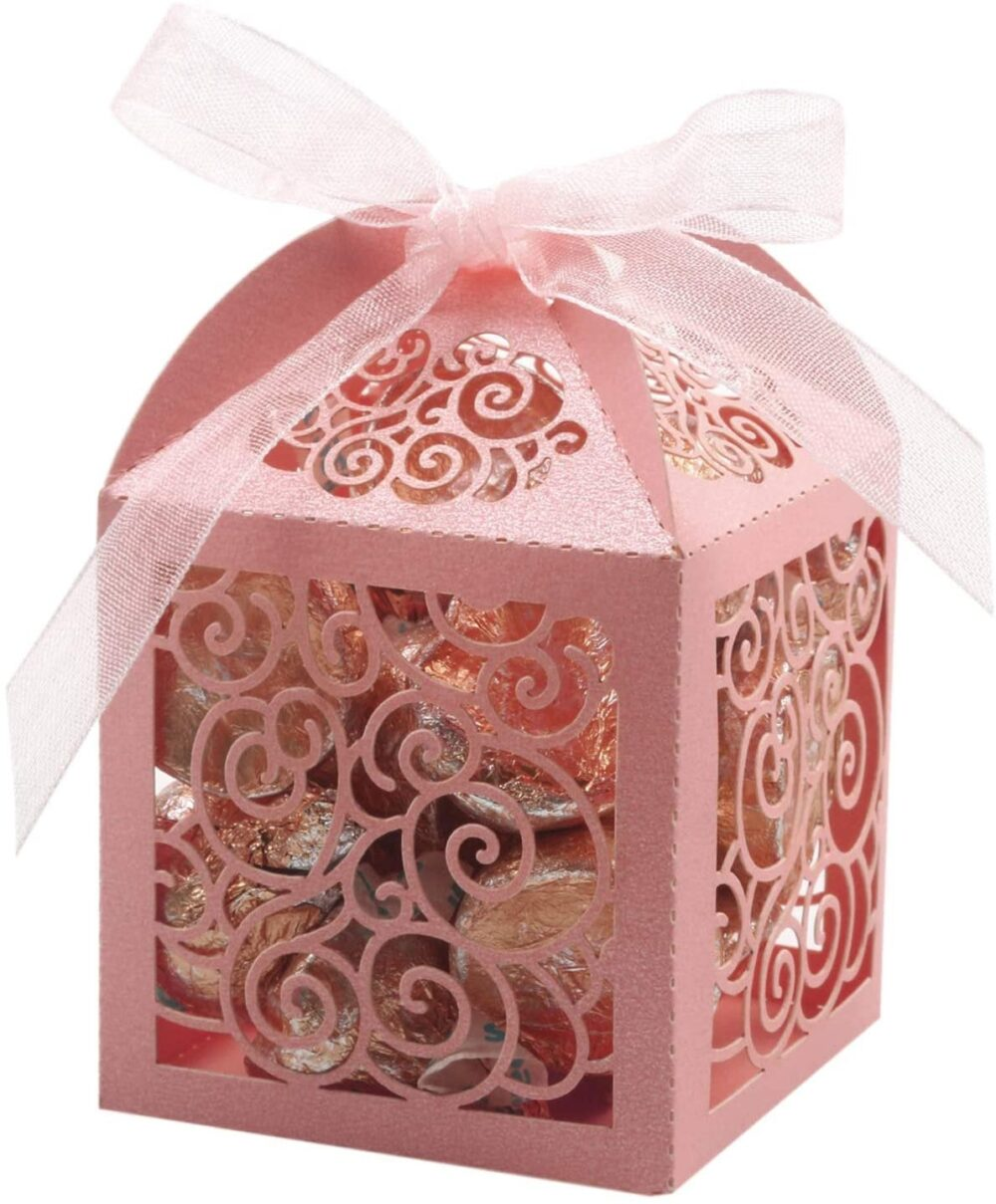 100 Pack Wedding Favor Boxes Laser Cut Party Box Small Gift Lace Candy For Bridal Shower Baby Birthd