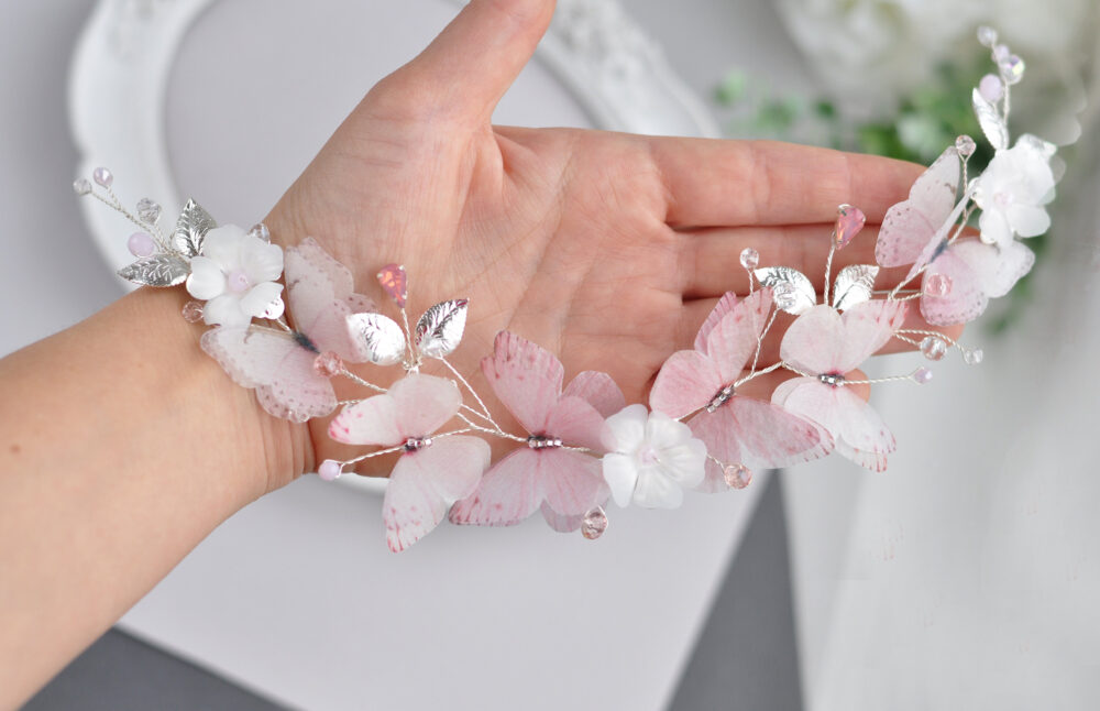 Blush Pink Hair Accessories Blush Butterfly Piece Gold Bridal Hairband Wedding Headpiece Butterfly Vine Comb