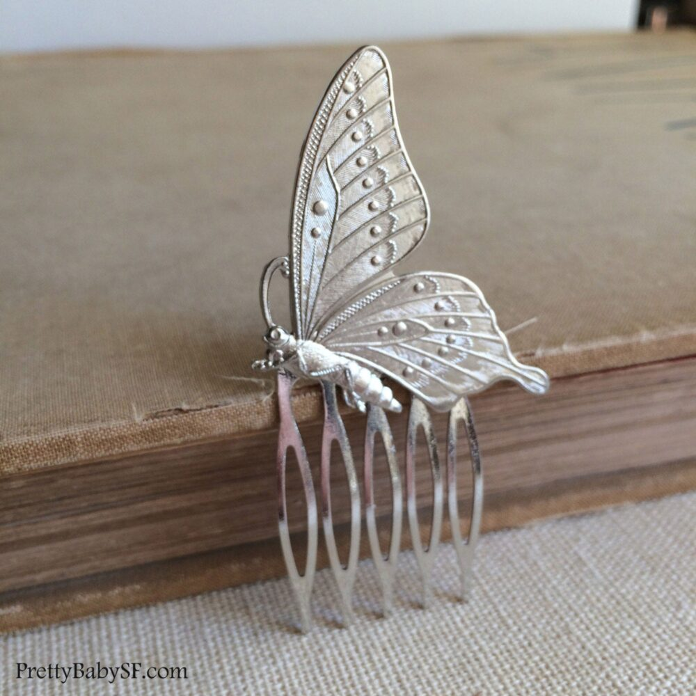Butterfly Comb, Butterfly Wedding, Silver Hair Comb, Garden Wedding Accessories Headpiece Bridal Comb Brass Gold Insect Clip