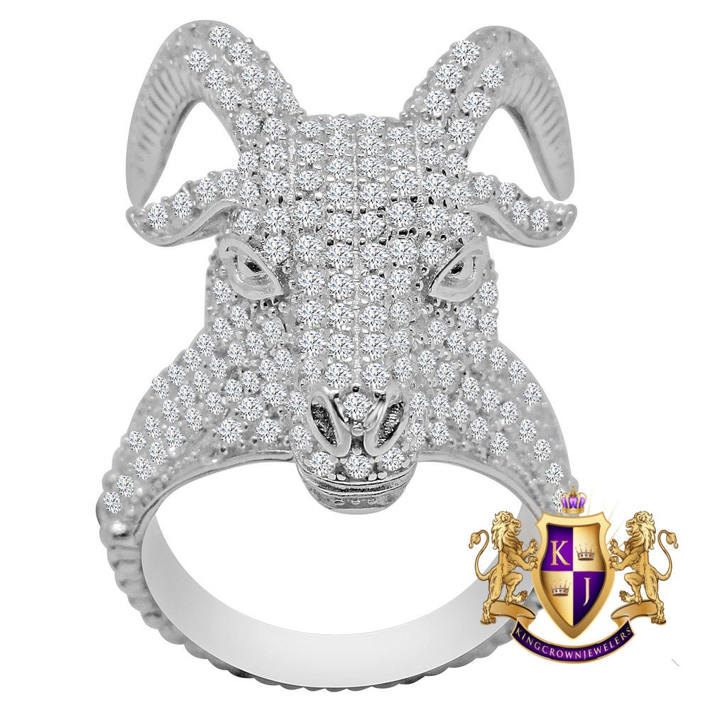 Mens 10K White Gold On Genuine Sterling Silver Simulated Diamond Buffalo Bull Head Pinky Ring Band