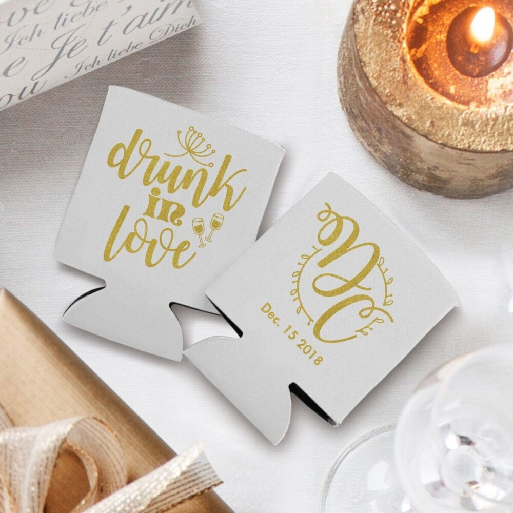 Personalized Wedding Can Coolers, Drunk in Love Koozies, Custom Party | 13