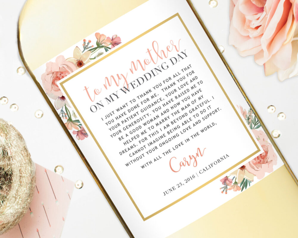 Mother Of The Bride Gift Wine Labels - Wedding For Mom Thank You Custom To My On My Day