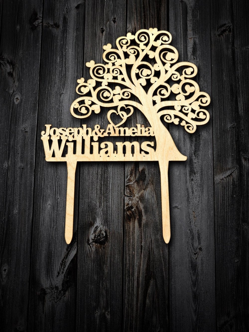 Custom Cake Topper. Wood Tree Wedding Cake Topper Engraved Wedding Personalized Name & Surname. Topper