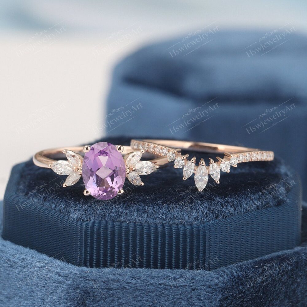 Oval Amethyst Engagement Ring Rose Gold Ring Unique Cluster Engagement Vintage Marquise Diamond/Moissanite Wedding Bridal