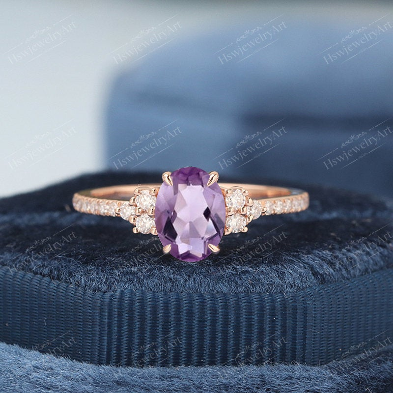 Oval Amethyst Engagement Ring Vintage Rose Gold Cluster Unique Diamond/Moissanite Wedding Bridal Anniversary