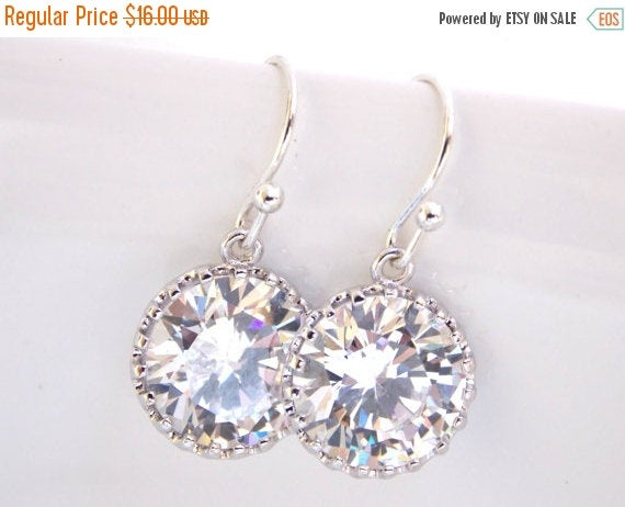 Wedding Jewelry, Silver, Cubic Zirconia Earrings, Bridal Crystal, Clear, Mother's Gift, Bridesmaids Gifts, Dangle