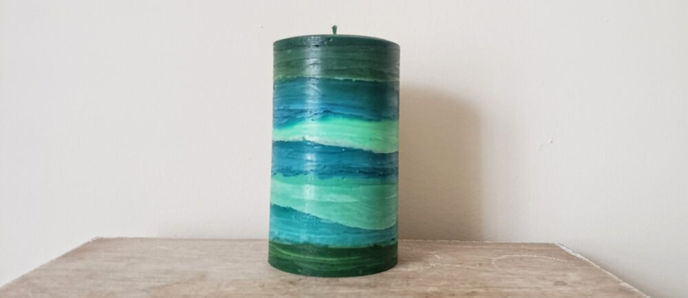 Teal Lime Green Peacock Colored Pillar Candle