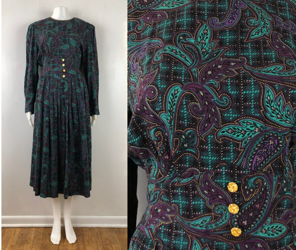 Vintage Paisley & Plaid Dress   80S Rayon Long Sleeve With Pockets Womens Size Small