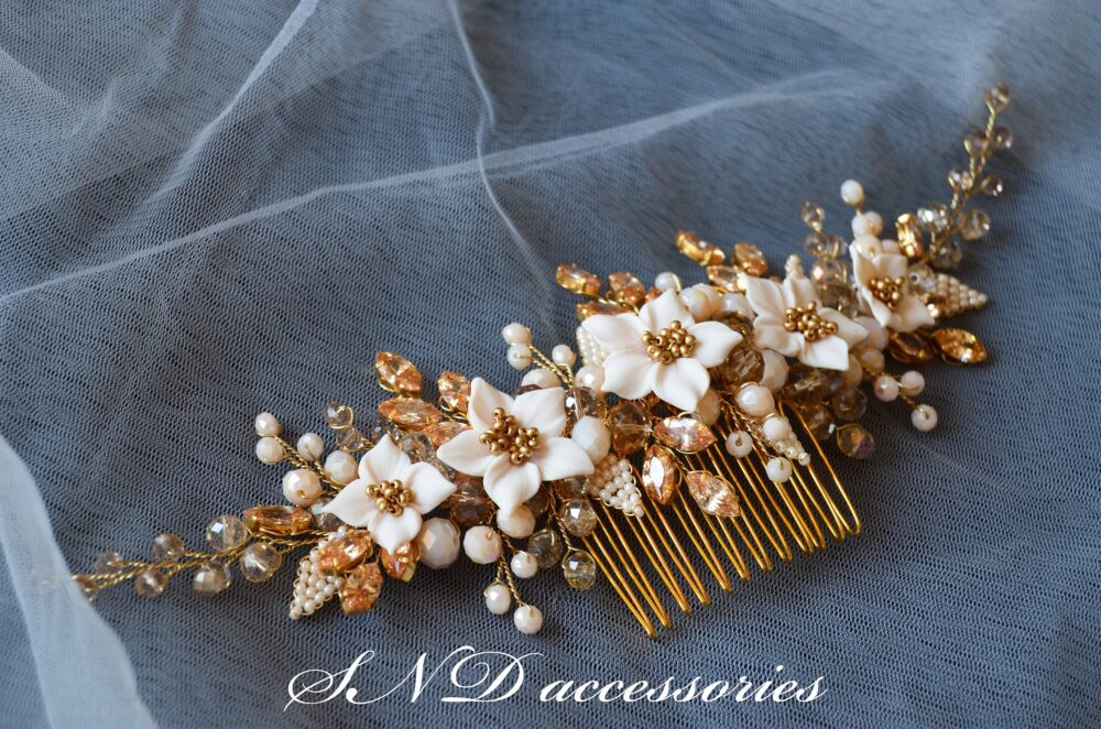 Hair Comb Bridal Headpiece Wedding Hair Accessories Floral Champagne Gold Crystal Vintage Design