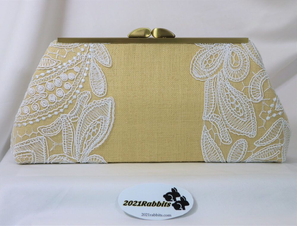 Boho Wedding Bridal Clutch - Khaki Beige Evening Bag Wild Natural Silk & & White Corded Embroidered Lace Silver/Antique Gold Hardware
