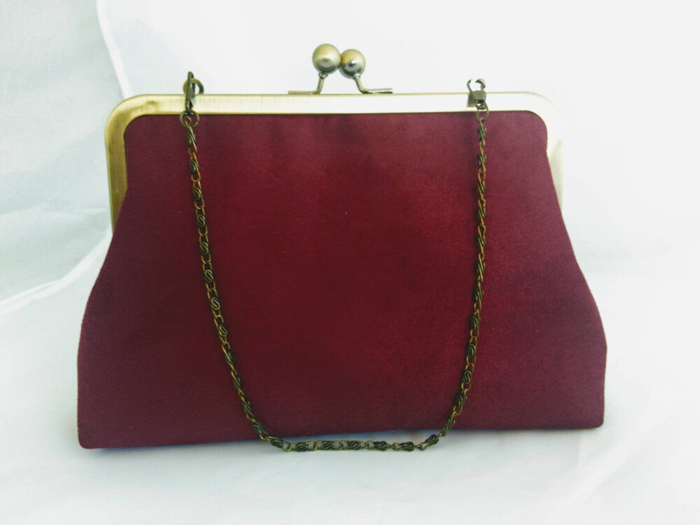 Burgundy Suede Clutch Purse, Wedding Day Clutches, Evening Bag, Red Bridal, Bridesmaid Gift, For Mother Of Bride, Winter