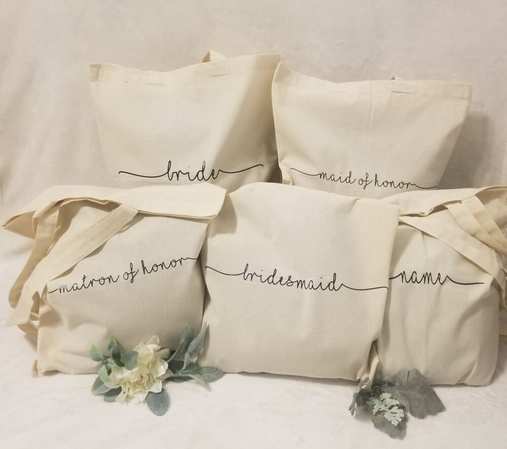 Personalized Tote Bags, Wedding Party Bridal Gift, Gift Bridesmaid, Cosmetic Bag, Bag Name