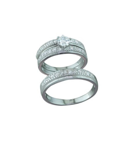 Silver Trio Wedding Ring Sets, 0.925 Sterling Pave Setting Cubic Zirconium Stones
