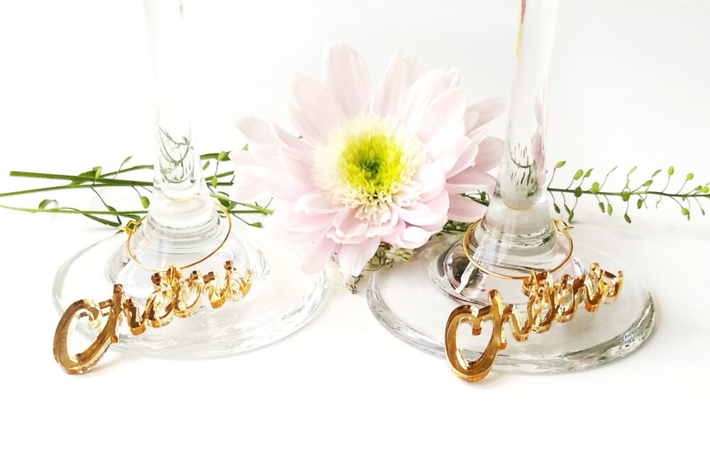 Cheers Tags For Wedding, Wine Charms, Gold Wedding Tags, Gold Glass Wedding Charms