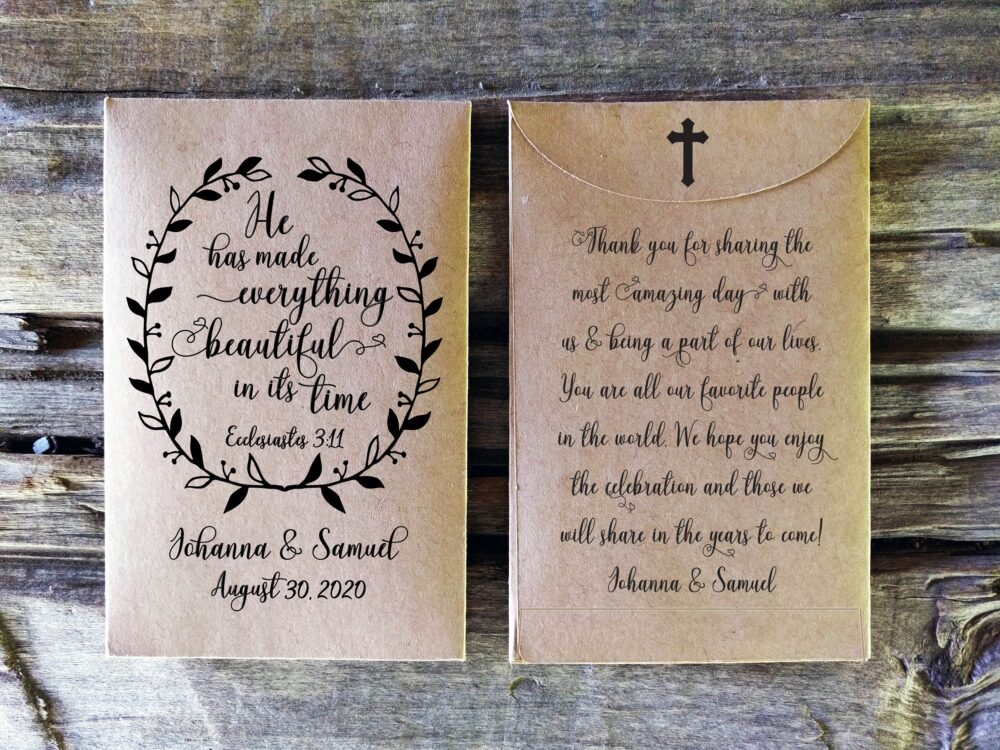 Bible Verse Seed Packet Wedding Favor, Rustic Bridal Shower Custom Seed Packet, Christian Favors, He Has Made Everything, Ps
