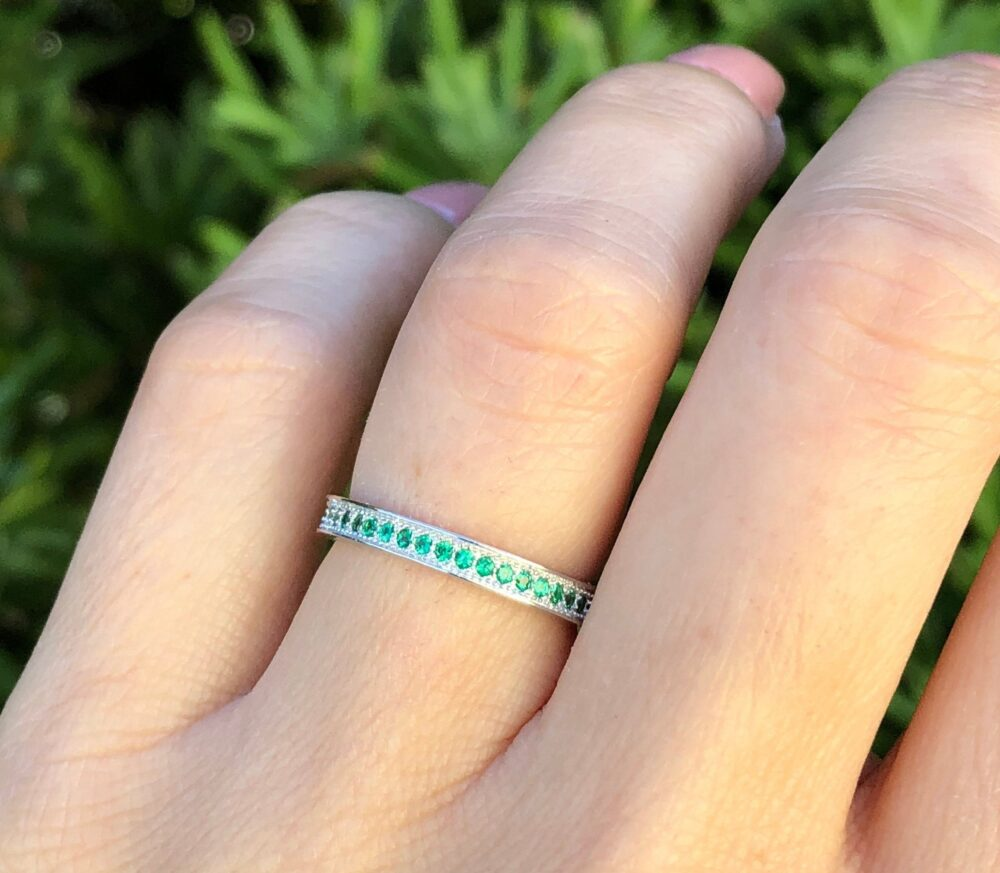 Green Emerald Eternity Band Ring. May Birthstone Sterling Silver Band. Sizes 4-10