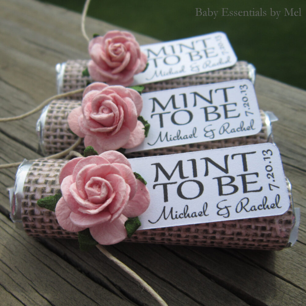 """Wedding Favors - Set Of 150 Mint Rolls """"Mint To Be"""" With Personalized Tag Burlap, Pale Pink, Rose, Rustic, Shabby Chic"""